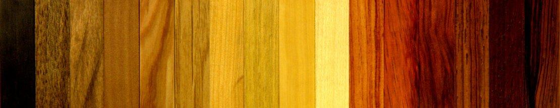 L'ensemble de la gamme d'essences de bois des porte-couteaux Harmonium